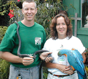 Nearly Native Nursery - Jim and Debi Rogers  your Southeastern native plant specialists with Buster and friend